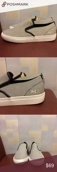 "Lacoste Men's Rene Alliot Slip On  Size 9 New without box or dust bag  Store display model  Minor dirty spots around soles      Lacoste Men's Rene Alliot Slip On  Size 9    Color Black/ White    Width 4""  Sole Length 11""    100%Authentic Lacoste Shoes Loafers & Slip-Ons"