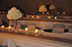 diy burlap and lace wedding photo album | Reception tables with candle light