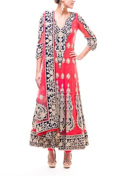 Wellgroomed Designs- Gorgeous Coral Bridal Anarkali