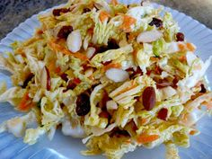 Foods For Long Life: Raw Vegan Asian Coleslaw with a Ginger Tahini Vinaigrette Salad Dressing