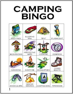 Free printable Bingo cards for your next Girl Scout camping trip available at…