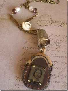This is a unique, one-of-a-kind mixed media necklace by Jen Crossley. I have hand sewn this unique leather purse from scratch.Featuring a antique tin type Recycled Jewelry, Old Jewelry, Charm Jewelry, Jewelry Crafts, Jewelry Art, Jewelery, Vintage Jewelry, Jewelry Making, Unique Jewelry