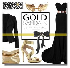 """Solid Gold Sandals"" by kts-desilva ❤ liked on Polyvore featuring Michael Kors, ALDO, Donna Karan, Hervé Léger, Tuleste, H&M, MARBELLA and goldsandals"