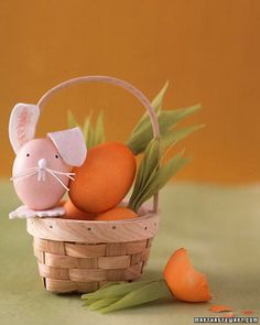 Super cute Easter eggs decorated to look like a bunny rabbit and carrots.
