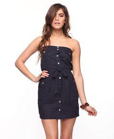linen-blend strapless shirt dress