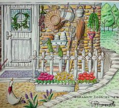 romantic country by eriy - Google Search --> If you're in the market for the top-rated adult coloring books and supplies including colored pencils, watercolors, gel pens and drawing markers, logon to http://ColoringToolkit.com. Color... Relax... Chill.