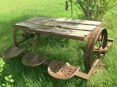 Recycled Metal Projects - tractor table