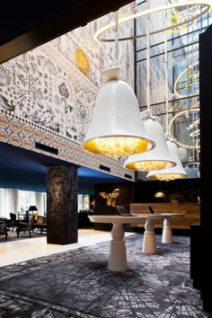 Marcel Wanders interior design of the Amsterdam Andez hotel. When In Amsterdam.: Amsterdam Guide to Dutch Design Design Hotel, Restaurant Design, White Restaurant, Commercial Design, Commercial Interiors, Resorts, Deco Luminaire, Hotel Reception, Hotel Interiors