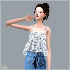 Summer Flare Sleeveless_여름 플레어 민소매_여자 의상 - SIMS4 marigold