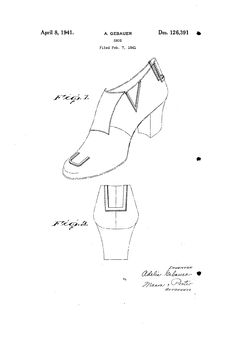 1941 DESIGN FOR A SHOE  Adelia Gebauer