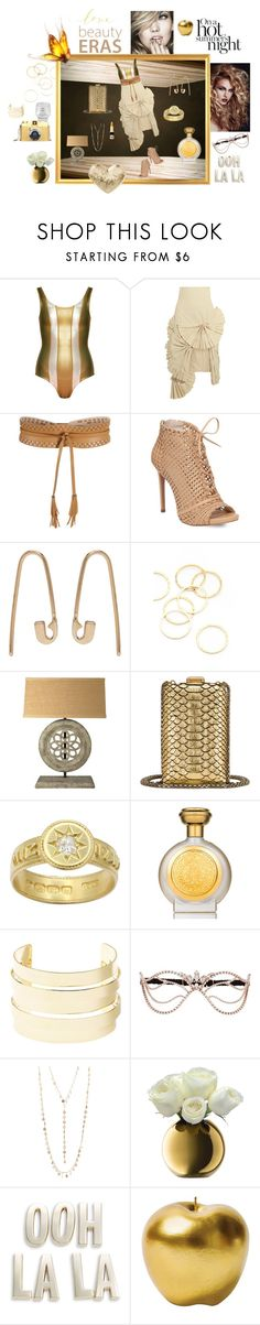 """Just Going For Gold"" by love-kaleidoscope ❤ liked on Polyvore featuring Cynthia Rowley, Jacquemus, BCBGMAXAZRIA, Jessica Simpson, Lauren Klassen, A.V. Max, Chanel, Boadicea the Victorious, Charlotte Russe and Agent Provocateur"