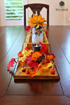 DIY Tablescape for fall.  Learn how to create faux chipped paint finish on wood planks.