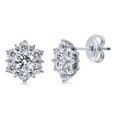 Sterling Silver RH Cubic Zirconia Sunburst Post Earrings