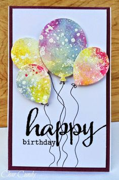 handmade birthday card from Expressions of me: A Little watercoloring ... delightful punched/die cut balloons from fanciful watercolored paper ... fab card!