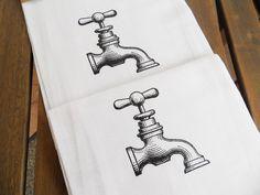 Faucet Flour Sack TEA Towels - Set of Two - Screen Printed Kitchen Towel. $18.00, via Etsy.