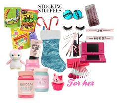 """""""#PolyPresents: Stocking Stuffers"""" by abby-white-2 ❤ liked on Polyvore featuring NYX, Lime Crime, Nintendo, Victoria's Secret, contestentry and polyPresents"""