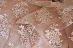 ivory bead lace fabric, bridal lace fabric with pearl and sequins