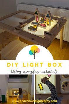 DIY LIGHT BOX - using everyday materials that you probably already own. Montessori Activities, Infant Activities, Activities For Kids, Montessori Toddler, Autumn Activities, Baby Sensory, Sensory Bins, Sensory Table, Story Stones