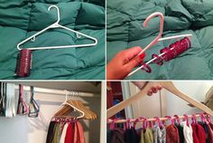 DIY Scarf Storage! I found this super great trick for how to store/organize more scarfs into my closet. All you need to do is buy a pack of snap together plastic shower rings and loop them over a hanger. #diy #scarf #storage