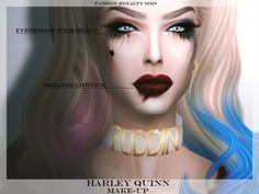 Harley Quinn Make-up 2016• Includes EYESHADOW and LIPSTICK • Standalone • Custom thumbnails • 6 colors of lipstick • Hair and choker by salem2342 • Please, tag me #fashionroyaltysims if you use it Download here• More creations by me Happy Halloween!