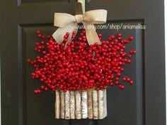 Valentine wreath Valentine's Day wreath berry wreaths birch bark vases DIY wreath burlap bow Christmas wreaths DIY wreaths
