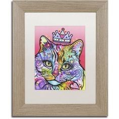 Trademark Fine Art 'Love Cat 5' Canvas Art by Dean Russo, White Matte, Birch Frame, Size: 16 x 20, Assorted