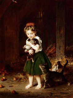 Ludwig Knaus (1829-1910) A Handful of Kittens