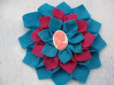 Super cute two toned pink & teal dahlia flower hair accessory! Check out the adorable vintage looking white and pink skull cameo! $8 on my Etsy Shop - For Halloween? Or, if your like me, everyday! <3