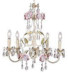 "This gorgeous 5-light chandelier features decorative flowers accented with glass crystals for an elegant statement. Overall Measurements: 17"" diameter x 19"" height Chandelier is hard wired and include"