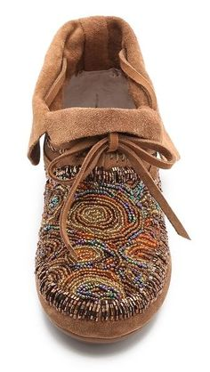 House of Harlow 1960 Mallory Moccasin Booties // cool beading by felicia