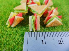 10 Ham Sandwich And Cheese Dollhouse Miniatures Food by FMshopp