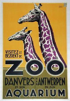 Vintage Antwerp Belgium Zoo Fridge Magnet Purple Giraffe on Yellow Gold Background