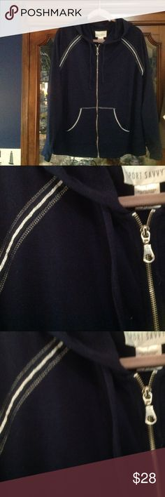 Navy jog jacket with silver piping never worn Great soft feel sport savy Jackets & Coats