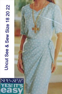Butterick 6879 Uncut Pattern Misses Top and Wrap Skirt See & Sew Very Easy Size 18 20 22