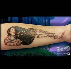 Love Pocahontas, not many tattoos of her out there or at least not good ones.