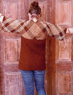 Loom woven rustic brown cardigan ready to ship Loom Weaving, Hand Weaving, Brown Cardigan Sweater, Tapestry Loom, Hand Painted Canvas, Weaving Patterns, Blanket Scarf, Book Crafts, Textile Design