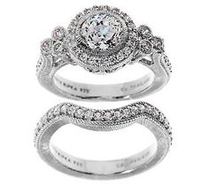 judith ripka sterling 185ct diamonique bridal ring set - Qvc Wedding Rings