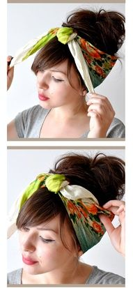 Summertime Hair Wraps from Scarves. Cute!