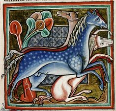 Bodleian Library, MS. Bodley 764, Folio 46r Four spirited horses, one of which has fallen.