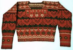 Mans' knitted  sweater from Bjuråker, Hälsingland. Dated 1867. http://samlingargavleborg.blogspot.se/2011_11_01_archive.html