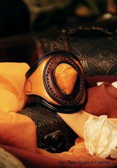 Unique leather bracelet with natural alber. Handmade by Van Zakk Leather. Www.facebook.com/vanzakkleather