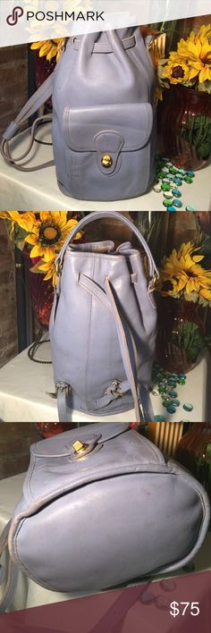 Coach Backpack Authentic Coach backpack- Sz 11x13- Genuine leather- Good condition- Light blue- Gold hardware- Minor discoloration along top closure & sides doesn't take anything away from the bag. Still looks fabulous! Please view all pics prior to purchasing. Very nice bag! Coach Bags Backpacks