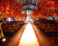 Fall wedding decor :  wedding bouquet ceremony flowers reception 500x400 Leaves Aisle Runner