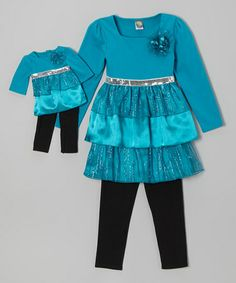 Take a look at this Teal & Black Tiered Tunic Set & Doll Outfit - Toddler & Girls by Dollie & Me on #zulily today!