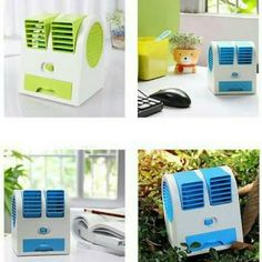 Super Best Seller Stuff ! Mini Fan Air Conditioner  Features:100% Brand new and high quality! Mini Small Fan Cooling Portable Desktop Dual Bladeless Air Conditioner USB New Specifications: Material: Acrylonitrile Butadiene Styrene Power Source: ElectricSize:  Approx:115105150mmOne hole size:4838mmColors :Blue  How to use: Use the AA Battery Or the USB.(Package not include the battery) Package includes: 1 x Air Conditioner 1 x Power Cable  Harga 119.000  Order LINE @ jakartakomputer (pakai…