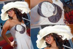 """Reyna Amaya wearing East Angel Harbor Hats Kentucky Derby Hat """"Run for the Roses"""" in Ivory.  Melbourne Cup 2008"""