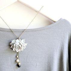 Cascading Grey Rose Pendant Necklace