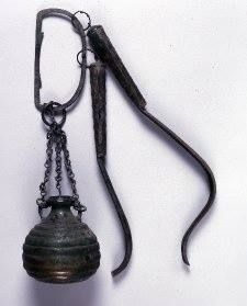 1-200 CE Rhineland. Roman athlete's kit, bronze aryballos or oil flask and two strigils- skin scrapers used for centuries for cleansing the skin.