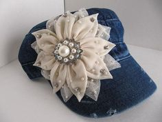 Military Hat, Cadet Hat, Blue Jean Color, Distressed, Rhinestones,  Bling Hat, Womens Hat, Girls Hats, Teen, Black Hat on Etsy, $35.00