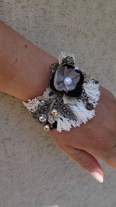 Gothic cuff bracelet embroidered with ribbons pearls and crystals Fabric cuff bracelet Jeweled fabric cuff Black cuff bracelet Wrist corsage